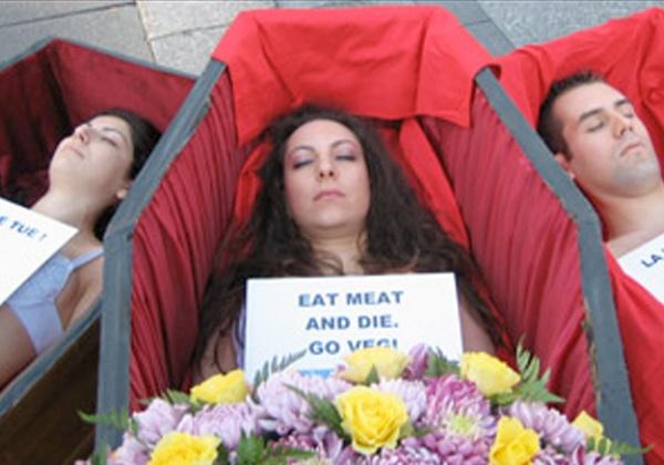 Des «victimes» nues lancent l'alerte  : «Manger la viande tue  !»