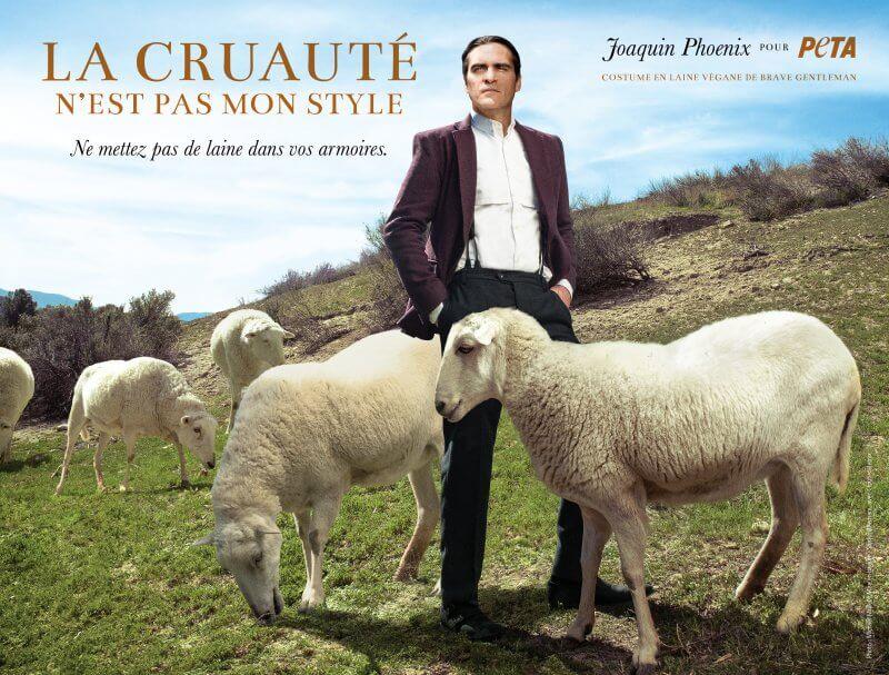 joaquin phoenix laine mouton végan costume