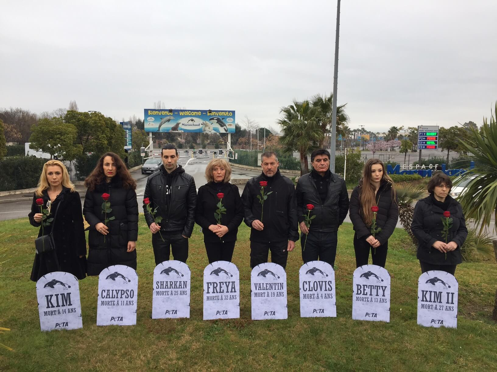 PETA installe un cimetière devant Marineland pour dire que la captivité tue