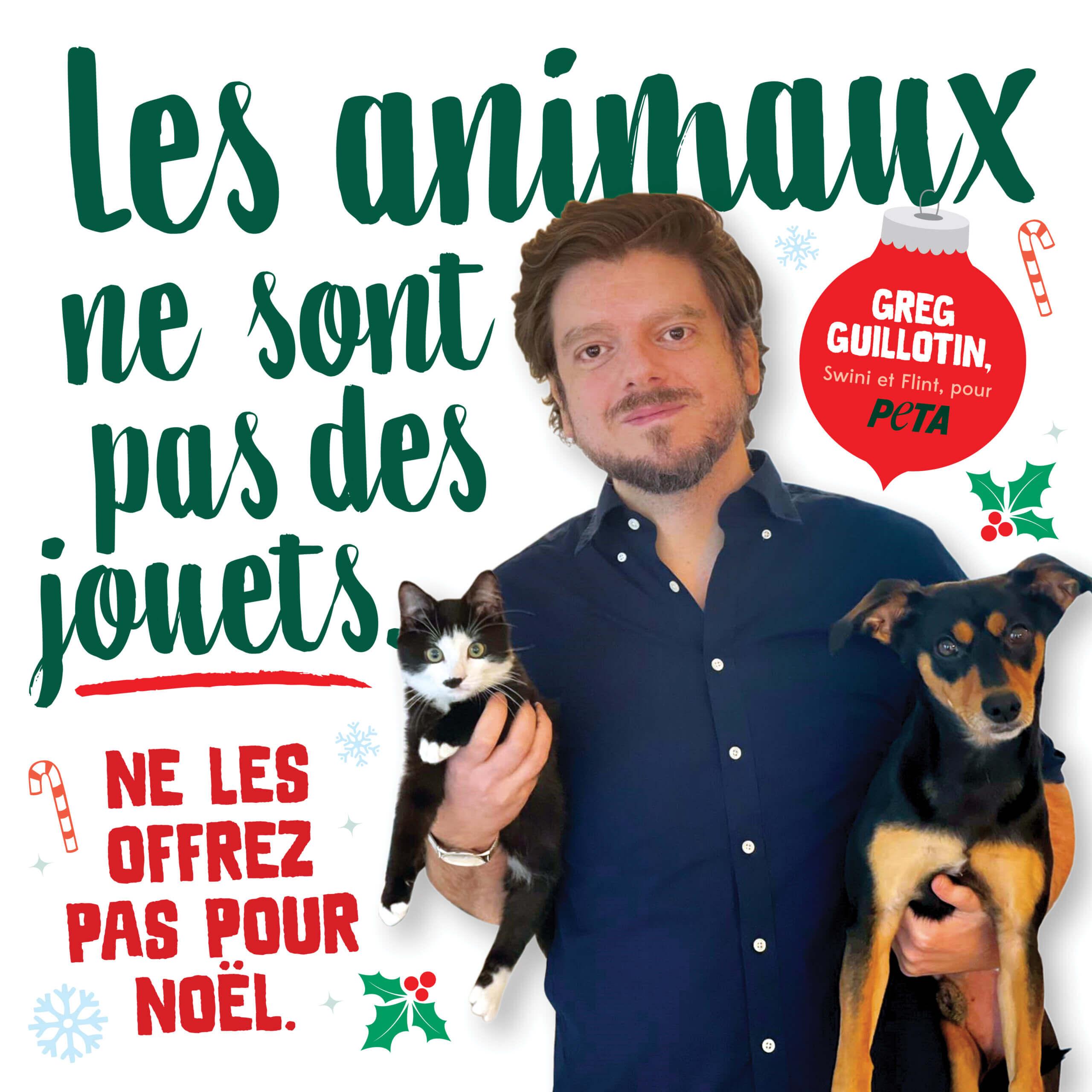 Greg Guillotin rappelle que les animaux ne sont pas des cadeaux de Noël