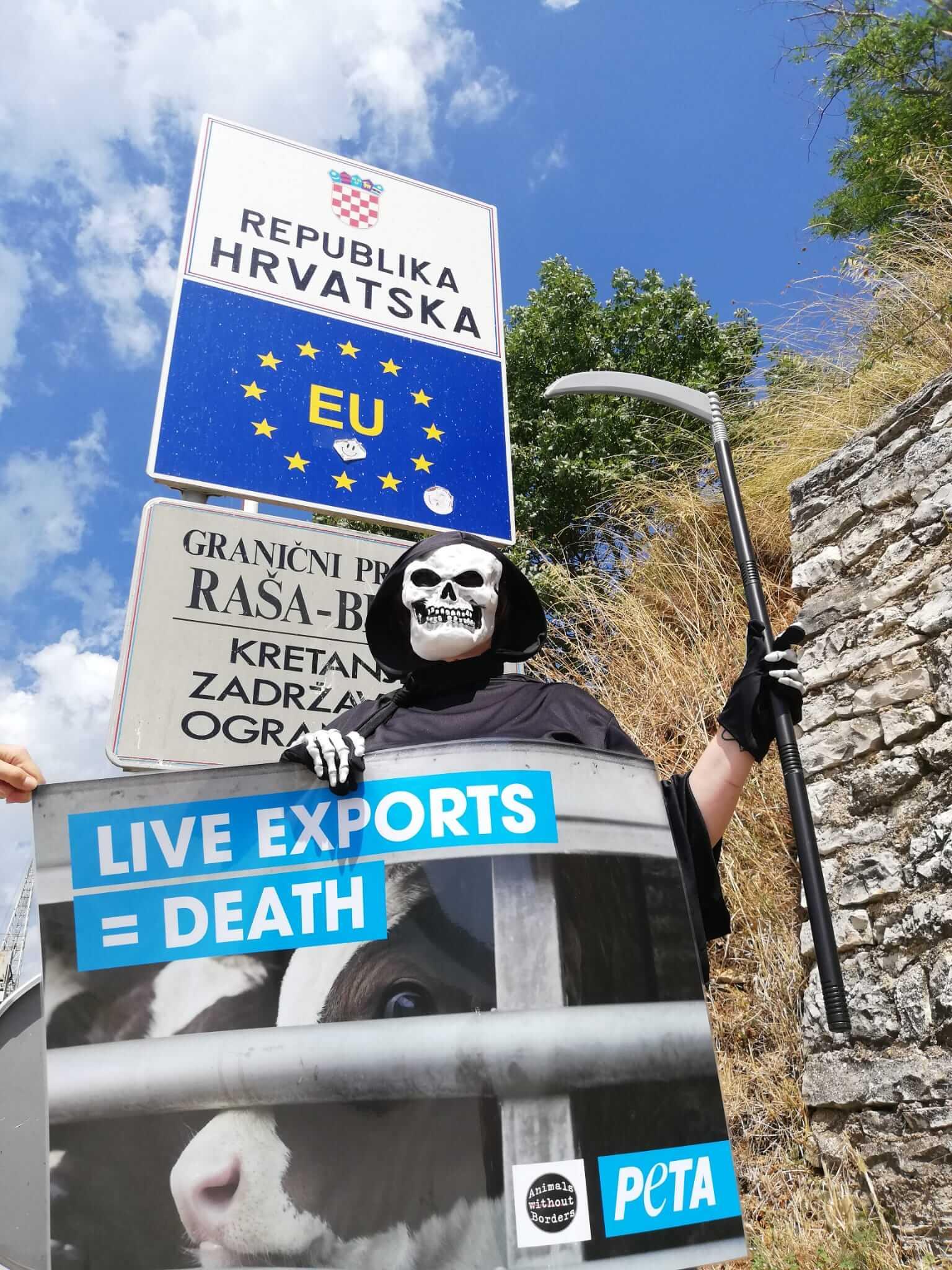 Près de 40 manifestations de PETA Allemagne dans toute l'Europe pour demander la fin du transport d'animaux vivants